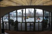 Blick aus dem Convention Center auf den Außenstand
