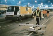 Vermessungsarbeiten Spurführung Personentransporter (Eurotunnel)
